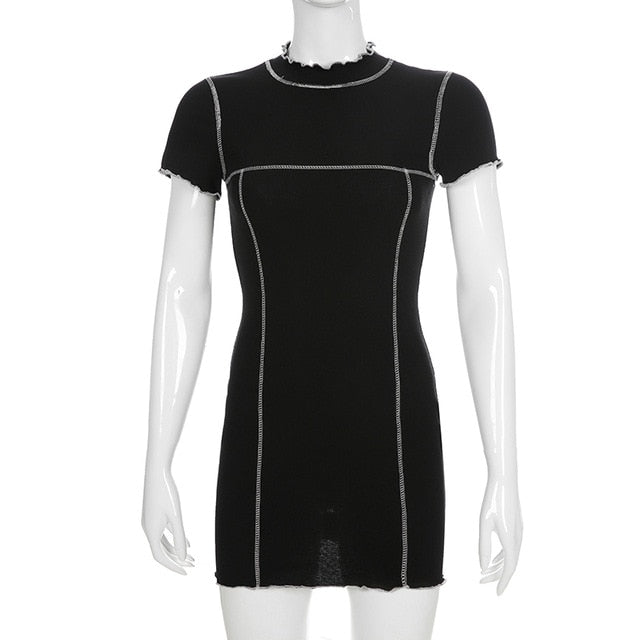 Contrast Trim Racer Bodycon Dress