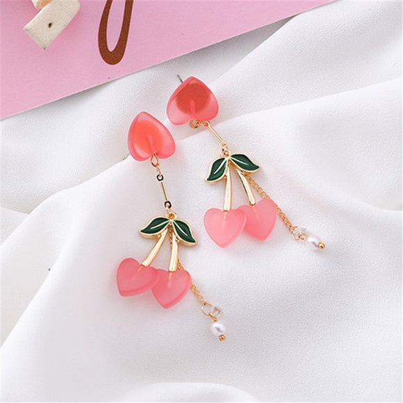 Peach Cherry Drop Earrings