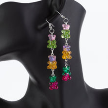 Load image into Gallery viewer, Tri-Gummy Bear Drop Earrings