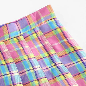 Candy Plaid Pleated Skirt