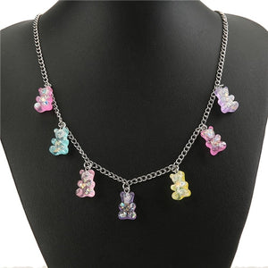 Vibrant Gummy Bear Charm Necklace