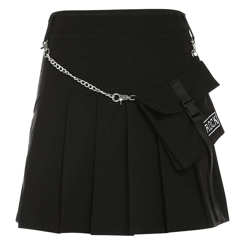 ROCK Pocket Chain Pleated Skirt