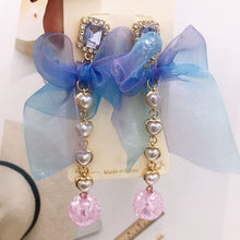 Load image into Gallery viewer, Ribbon Crystal Drop Earrings