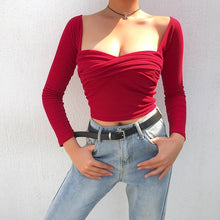 Load image into Gallery viewer, Ripe Cherry Sweetheart Peasant Top