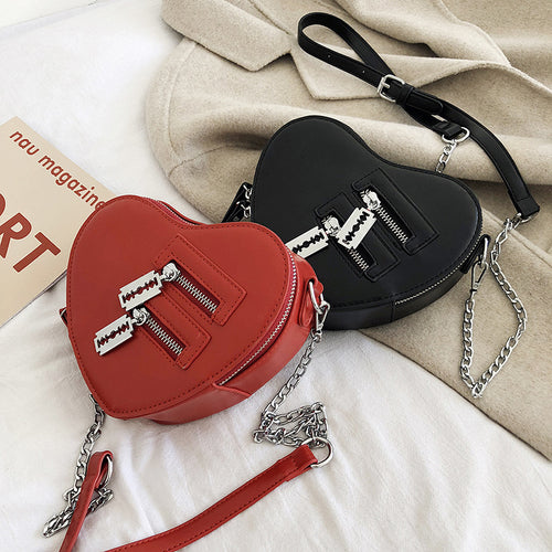 Heart Double Zip Crossbody Bag