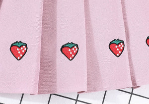 Strawberry Pleated Skirt