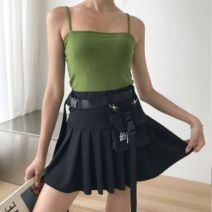 Buckle Belt Pleated Skirt
