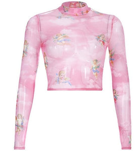 Rose Cherub Mesh Top