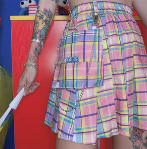 YES Candy Plaid Pleated Skirt