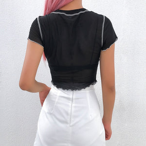 Contrast Trim Mesh Crop Top