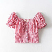 Load image into Gallery viewer, Gingham Puff Sleeve Crop Top