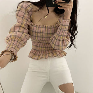 Winona Plaid Peasant Blouse