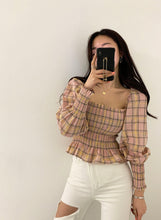 Load image into Gallery viewer, Winona Plaid Peasant Blouse