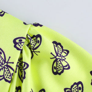 Neon Butterfly Peasant Crop Top