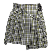 Load image into Gallery viewer, Sage Green Plaid Pleated Skirt