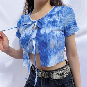 Blue Tie Dye Lace-Up Crop Top