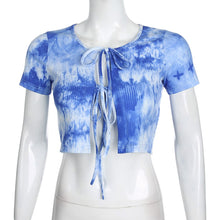 Load image into Gallery viewer, Blue Tie Dye Lace-Up Crop Top