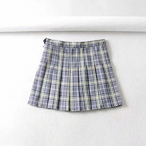 Plaid Button-Up Top / Pleated Skirt