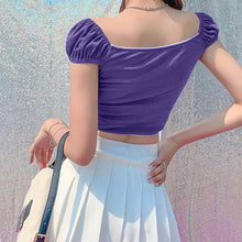 Load image into Gallery viewer, Aurora Ribbon Peasant Crop Top