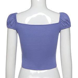 Aurora Ribbon Peasant Crop Top