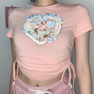 Blush Cherub Ruched Crop Top