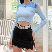 Load image into Gallery viewer, Baby Blue Shoulder-Peek Crop Top