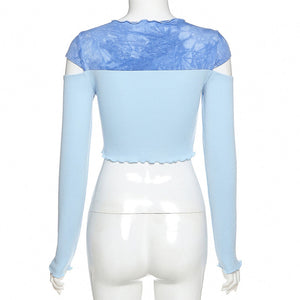 Baby Blue Shoulder-Peek Crop Top