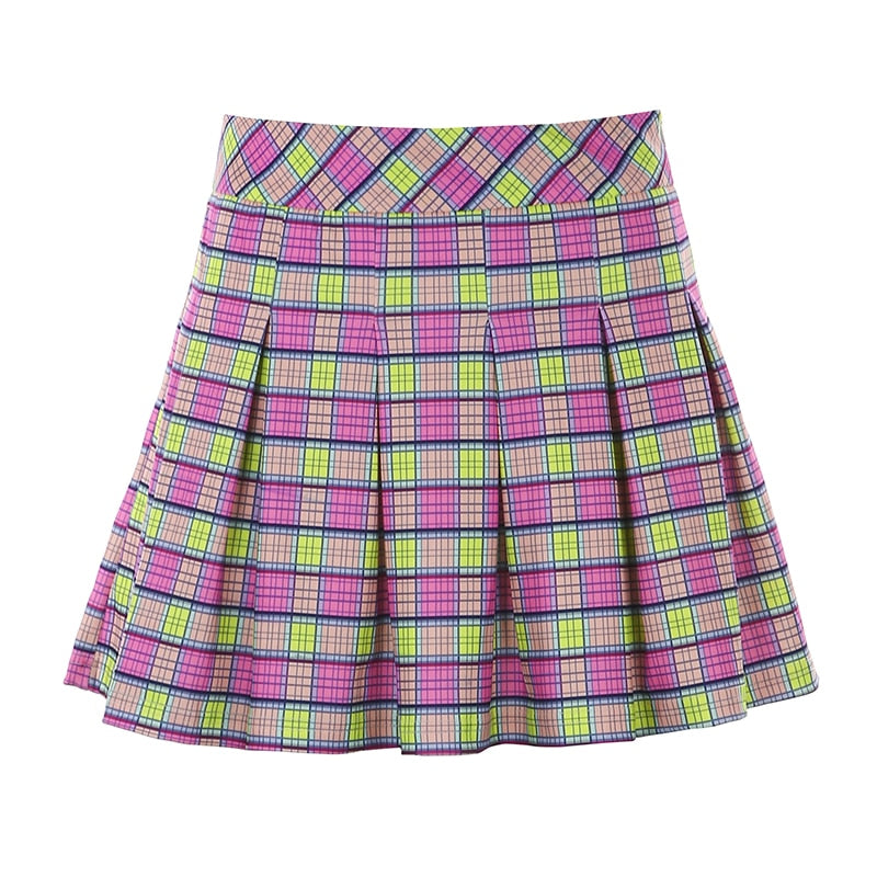 Lime & Lilac Plaid Pleated Skirt