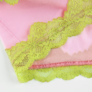 Pink + Green Lace Cross Cami