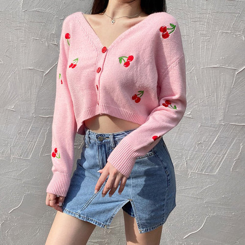 Cherry Knit Cardigan (PINK / WHITE)