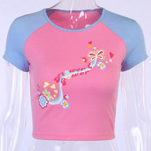 Load image into Gallery viewer, FLOWER POWER Pastel Baseball Crop Top