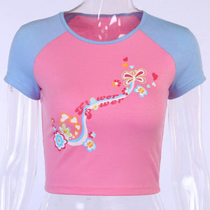FLOWER POWER Pastel Baseball Crop Top