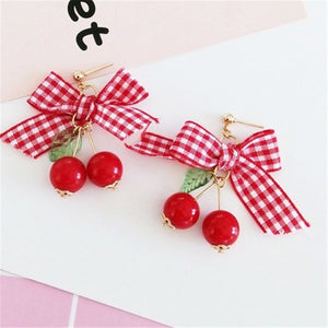 Gingham Ribbon Cherry Earrings