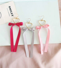 Load image into Gallery viewer, Ribbon Heart Drop Earrings