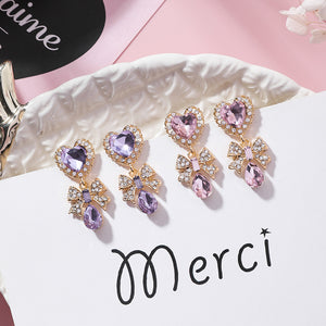 Romantic Crystal Heart Drop Earrings
