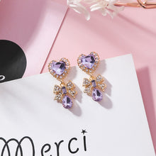 Load image into Gallery viewer, Romantic Crystal Heart Drop Earrings