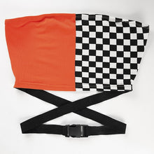 Load image into Gallery viewer, Orange / Checker Buckle Tube Top