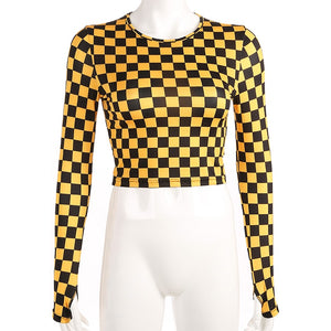 Yellow Checkerboard Mesh Long Sleeve Top