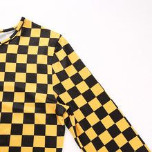 Load image into Gallery viewer, Yellow Checkerboard Mesh Long Sleeve Top