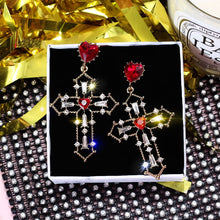 Load image into Gallery viewer, Heart Jewel Cross Earrings