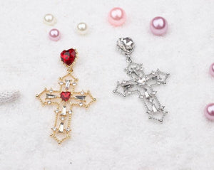 Heart Jewel Cross Earrings