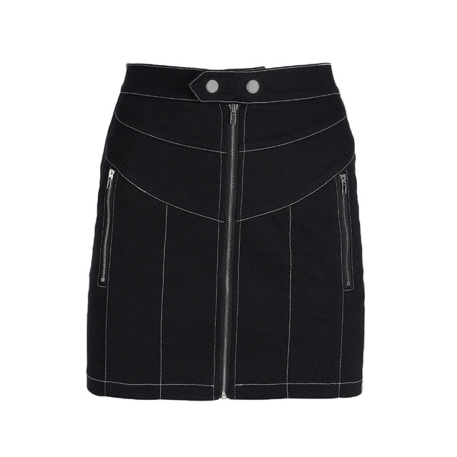 Contrast Trim Zip-Up Skirt