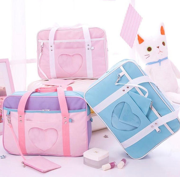 Pastel Heart Window School Bag