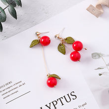 Load image into Gallery viewer, Long Cherry Drop Earrings