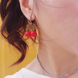 Long Cherry Drop Earrings