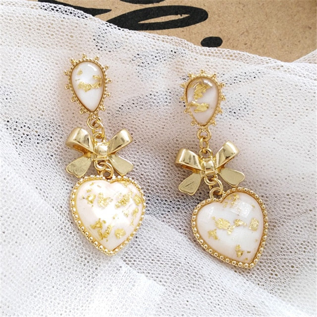 Stone Heart Drop Earrings