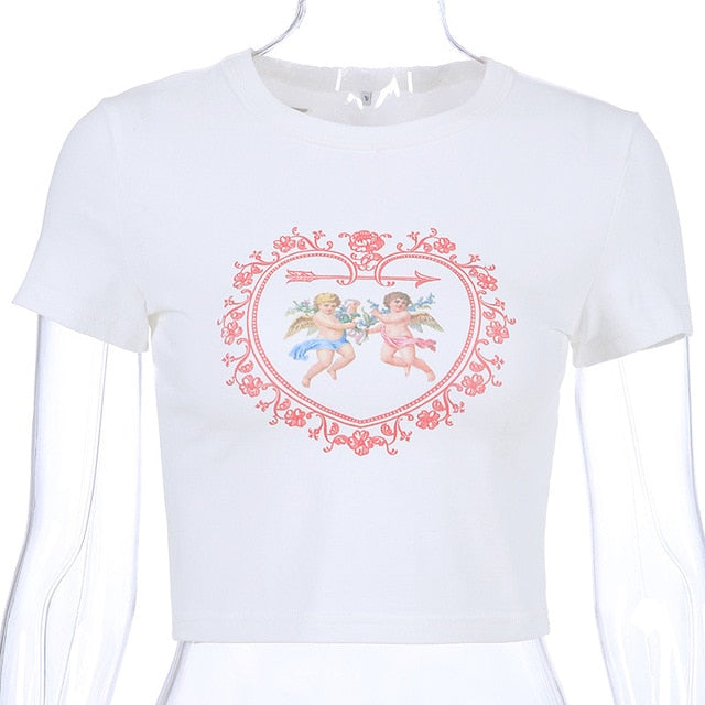 Cupid Heart Graphic Crop Top