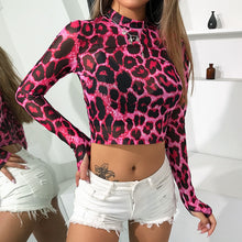 Load image into Gallery viewer, Fuchsia Leopard Mesh Top