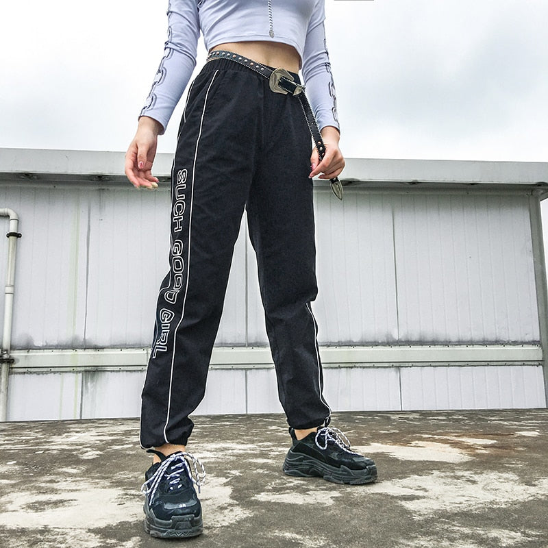 SUCH GOOD GIRL Graphic Piped Panel Joggers