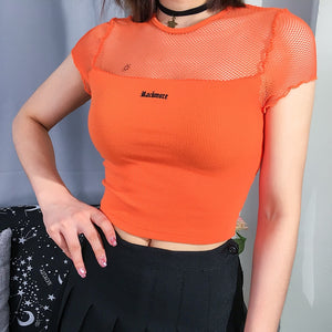 ROCKMORE Orange Mesh Crop Top